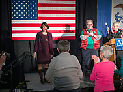 05 DECEMBER 2019 - DES MOINES, IOWA: US Senator AMY KLOBUCHAR (D-MN), left, laughs while going on stage at a campaign event in Des Moines. Sen. Klobuchar is campaigning to be the Democratic nominee for the US Presidency. Iowa holds the first selection event of the Presidential election cycle. The Iowa caucuses are Feb. 3, 2020.                  PHOTO BY JACK KURTZ