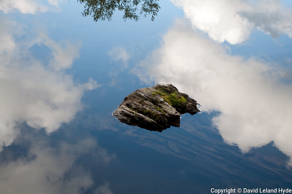 Reflections Detail, Manzanita Lake, Lassen Volcanic National Park, California parks, abstract photography, Cumulus clouds, submerged log, white, gray, blue, green moss