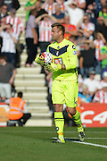 AFC Bournemouth's Goalkeeper Artur Boruc collects the ball during the Barclays Premier League match between Bournemouth and Sunderland at the Goldsands Stadium, Bournemouth, England on 19 September 2015. Photo by Mark Davies.