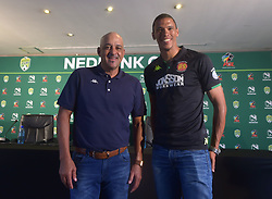 SOUTH AFRICA: JOHANNESBURG: Highlands Park head coach Owen Da Gama and the team's defender Bevan Fransman pose for a photograph during the Nedbank cup press conference, Gauteng.<br />Picture: Itumeleng English/African News Agency(ANA)<br />23.01.2019