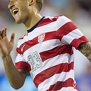 May 26 2012: USA's Fabian Johnson (23) reacts after missing a shot during the first half of play of the U.S. Men's National Soccer Team game against Scotland at Everbank Field in Jacksonville, FL. At halftime USA lead Scotland 2-1.