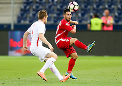 03.08.2016, Red Bull Arena, Salzburg, AUT, UEFA CL Qualifikation, FC Red Bull Salzburg vs FK Partizani Tirana, dritte Runde, Rückspiel, im Bild Christian Schwegler (FC Red Bull Salzburg) und Agustin Torassa (FK Partizani Tirana) //during UEFA Champions League Qualifier 2nd leg, 3rd round match between FC Red Bull Salzburg vs FK Partizani Tirana at the Red Bull Arena in Salzburg, Austria on 2016/08/03. EXPA Pictures © 2016, PhotoCredit: EXPA/ Roland Hackl