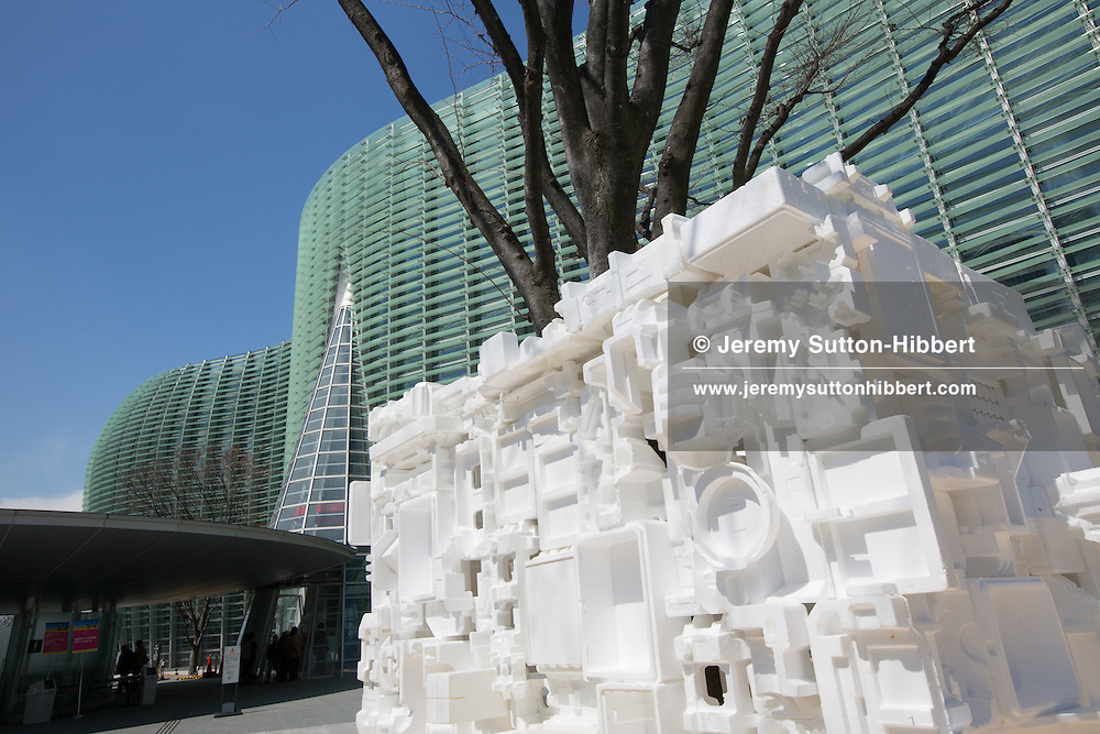 'Happo-En', a tea room, made of styrofoam containers, by Kaihatsu Yoshiaki, outside the National Art Centre, in Roppongi, Tokyo, Japan, on Sunday 25th March 2012. Exhibited as part of Roppongi Art Night 2012.