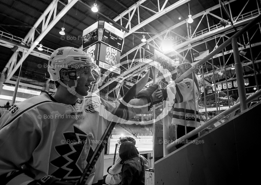 22 November 2014:    during a game between the Chilliwack Chiefs and the Coquitlam Express at Prospera Centre, Chilliwack, BC.    ****(Photo by Bob Frid - All Rights Reserved 2014): mobile: 778-834-2455 : email: bob.frid@shaw.ca ****
