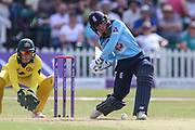Danielle Wyatt of England (28) attempts drives hard through cover during the Royal London Women's One Day International match between England Women Cricket and Australia at the Fischer County Ground, Grace Road, Leicester, United Kingdom on 4 July 2019.