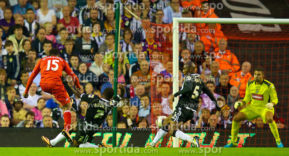 27.08.2013, Anfield, Liverpool, ENG, League Cup, FC Liverpool vs Notts County FC, 2. Runde, im Bild Liverpool's Daniel Sturridge scores the second goal against Notts County during the English League Cup 2nd round match between Liverpool FC and Notts County FC, at Anfield, Liverpool, Great Britain on 2013/08/27. EXPA Pictures &copy; 2013, PhotoCredit: EXPA/ Propagandaphoto/ David Rawcliffe<br /> <br /> ***** ATTENTION - OUT OF ENG, GBR, UK *****
