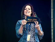 West End Live 2018 <br /> Trafalgar Square, London, Great Britain <br /> 16th June 2018 <br /> <br /> Excerpts from West End musicals perform live on stage in Trafalgar Square, London <br /> <br /> Ruthie Henshall <br /> Compare