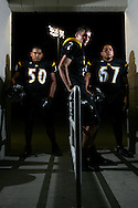 Photo by Alex Jones..Rio Hondo Bobcats: #50 Adrian Jaime, linebacker, #2 Shane Eizember, receiver, #67 Josue Vasquez, guard.