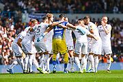 Leeds United players huddle during the EFL Sky Bet Championship match between Leeds United and Swansea City at Elland Road, Leeds, England on 31 August 2019.