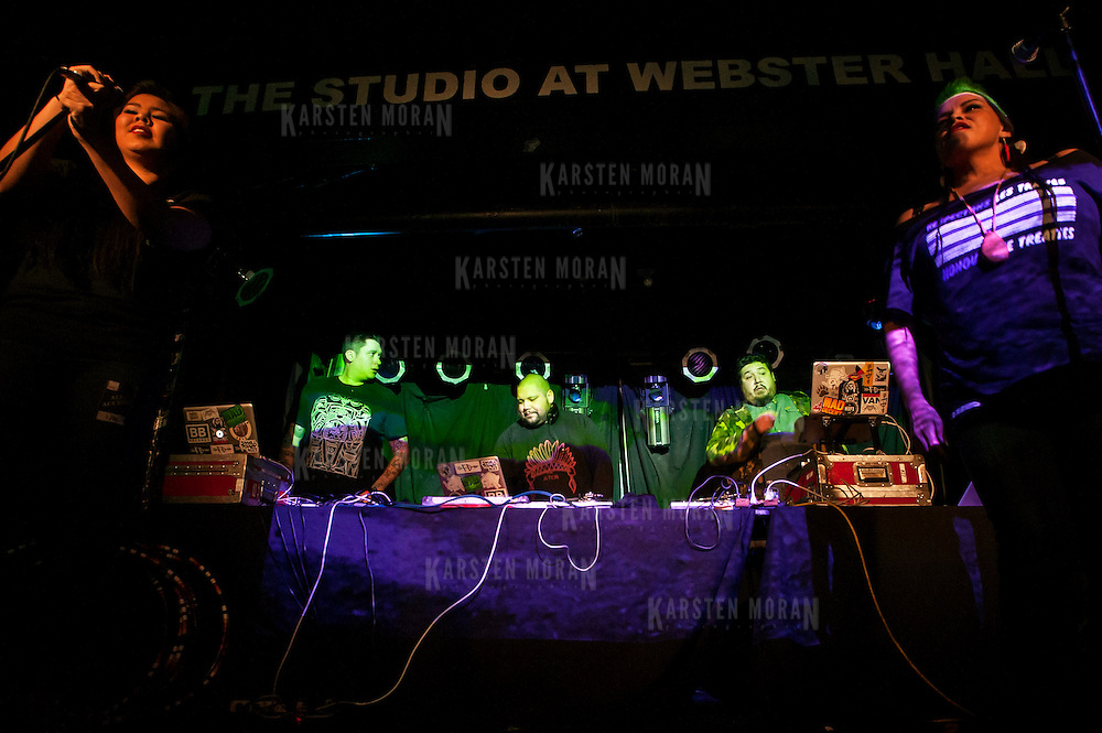 "January 14, 2013 - New York, NY : The native Canadian band ""A Tribe Called Red,"" comprised of, from left at turntables, DJ NDN, DJ Shub, and Bear Witness, perform during globalFEST in The Studio at Webster Hall on Sunday night. CREDIT: Karsten Moran for The New York Times"