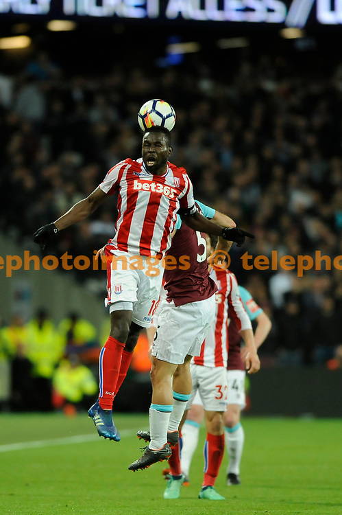 Mame Biram Diouf of Stoke City in action during the Premier League match between West Ham United and Stoke City at London Stadium in Stratford. 16 Apr 2018