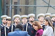 Queen Letizia of Spain attends 'Cervantes Award' to Ida Vitale at Alcala de Henares University on April 23, 2019 in Alcala de Henares, Spain
