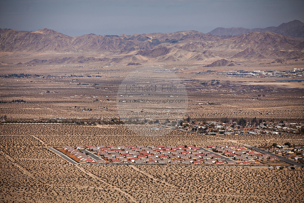 Aerial view of suburban development in the Mojave desert town of Twentynine Palms, California.