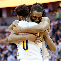 06 March 2016: Denver Nuggets forward Kenneth Faried (35) celebrates with Denver Nuggets guard Emmanuel Mudiay (0) during the Denver Nuggets 116-114 overtime victory over the Dallas Mavericks, at the Pepsi Center, Denver, Colorado, USA.