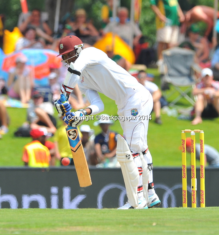 Marlon Samuels of West Indies during the 2014 Sunfoil 1st Test match between South Africa and West Indies at the Supersport Park in Pretoria, South Africa on December 19, 2014 ©Samuel Shivambu/BackpagePix