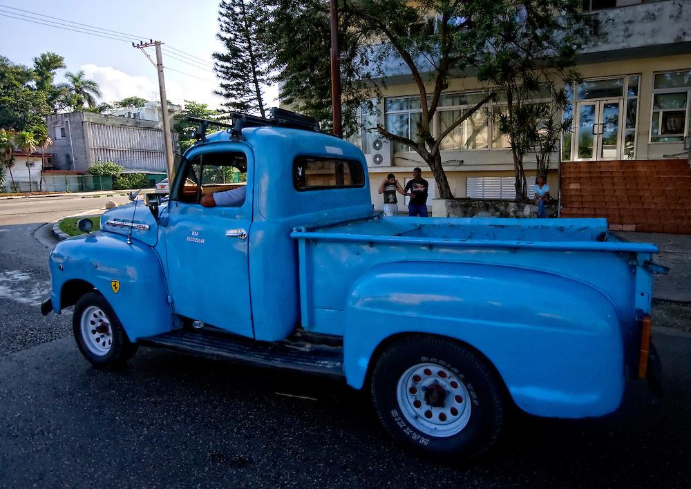 Blue pickup truck in Havana Regla, Cuba.