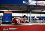 Air China check-in desk, Terminal Three of Beijing Capital International Airport, China