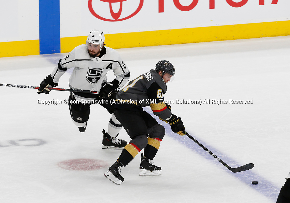 LAS VEGAS, NV - APRIL 11: Vegas Golden Knights center Jonathan Marchessault (81) skates by Los Angeles Kings defenseman Drew Doughty (8) during Game One of the Western Conference First Round of the 2018 NHL Stanley Cup Playoffs between the L.A. Kings and the Vegas Golden Knights Wednesday, April 11, 2018, at T-Mobile Arena in Las Vegas, Nevada. The Golden Knights won 1-0.  (Photo by: Marc Sanchez/Icon Sportswire)