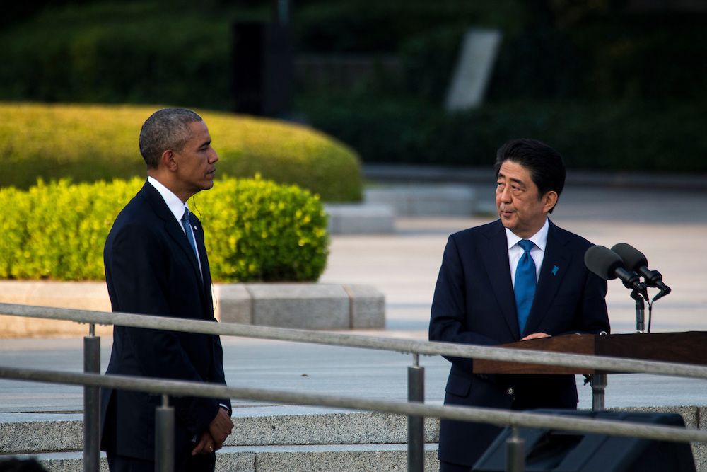 HIROSHIMA, JAPAN - MAY 27 : Prime Minister Shinzo Abe speech in front of the Hiroshima Peace Memorial Park in Hiroshima, Japan on May 27, 2016. US President Barack Obama is the first American president to visit Hiroshima after United States of America dropped Atomic bomb in Hiroshima on August 6, 1945.<br /> <br /> Photo: Richard Atrero de Guzman<br /> <br />  <br /> <br /> <br /> <br /> <br /> <br /> Photo: Richard Atrero de Guzman