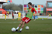 Accrington Stanley midfielder Sean McConville (11) warms up before the EFL Sky Bet League 1 match between Accrington Stanley and Fleetwood Town at the Fraser Eagle Stadium, Accrington, England on 30 March 2019.