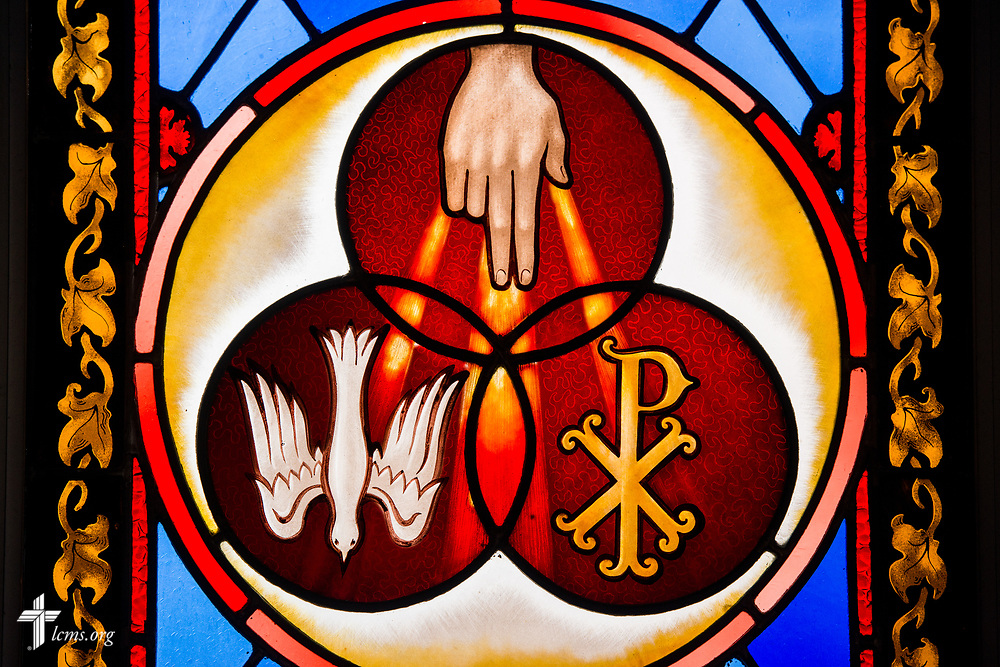Stained glass depicting the Trinity at St. Thomas Lutheran Church, Baltimore, on Saturday, March 24, 2018. LCMS Communications/Erik M. Lunsford