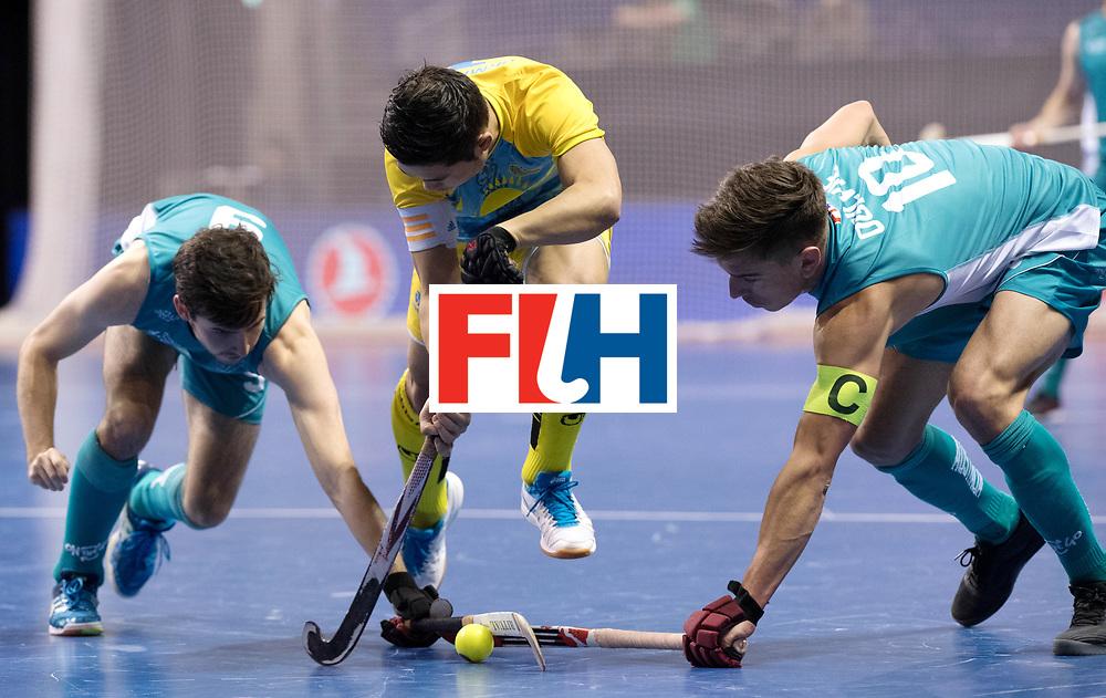 BERLIN - Indoor Hockey World Cup<br /> Men: Australia - Kazakhstan<br /> foto: James Knee, URMANOV Daulet and Heath Ogilvie.<br /> WORLDSPORTPICS COPYRIGHT FRANK UIJLENBROEK