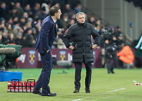 Football - 2016 / 2017 Premier League - West Ham United vs. Manchester United<br /> <br /> Manchester United Manager Jose Mourinho looks in disbelief after he watches his teams goal effort roll on the line at The London Stadium.<br /> <br /> COLORSPORT/DANIEL BEARHAM