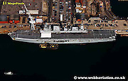 aerial photograph of HMS Ark Royal in  Portsmouth Dockyard  Hampshire UK