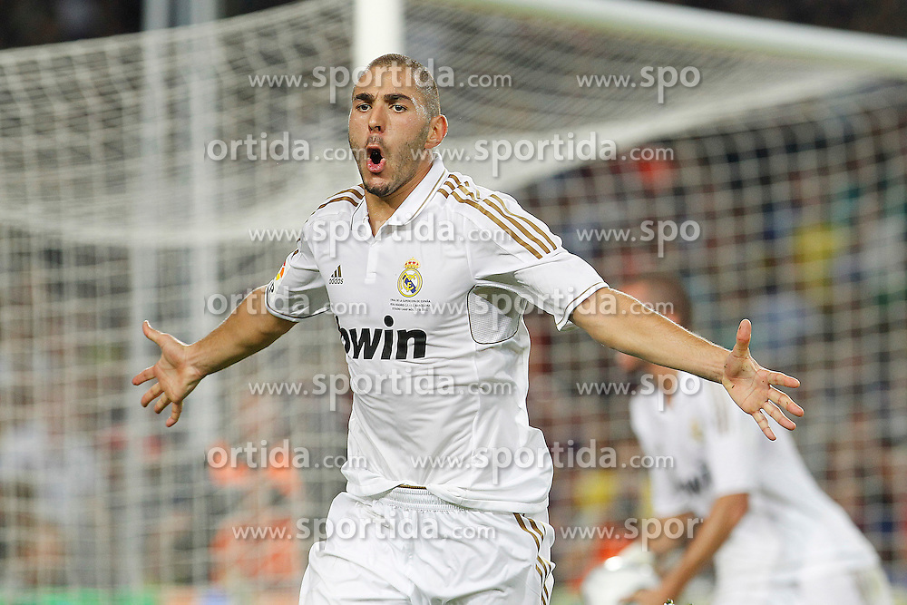 17.08.2011, Camp Nou, Barcelona, ESP, Supercup 2011, FC Barcelona vs Real Madrid, im Bild Real Madrid's Karim Benzema celebrate goal during Spanish Supercup 2nd match.August 17,2011. EXPA Pictures © 2011, PhotoCredit: EXPA/ Alterphotos/ Acero +++++ ATTENTION - OUT OF SPAIN / ESP +++++