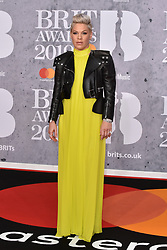 February 20, 2019 - London, United Kingdom of Great Britain and Northern Ireland - Pink arriving at The BRIT Awards 2019 at The O2 Arena on February 20, 2019 in London, England  (Credit Image: © Famous/Ace Pictures via ZUMA Press)