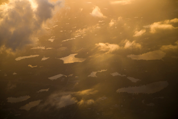 Florida sunrise is seen from above. Florida Aerial photography.