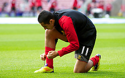 SUNDERLAND, ENGLAND - Saturday, September 15, 2012: Liverpool's Oussama Assaidi warms-up before the Premiership match against Sunderland at the Stadium of Light. (Pic by Vegard Grott/Propaganda)