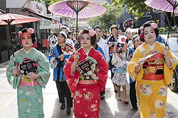 September 10, 2017 - Kuala Lumpur, MALAYSIA - Japanese ladies living in Malaysia wearing traditional Yukata costumes during the annual 'Bon Odori' festival celebrations in Kuala Lumpur, Malaysia on September 10, 2017. Hundreds of participants including both resident Japanese nationals and local Malaysians are celebrated the summer dance festival. (Credit Image: © Chris Jung via ZUMA Wire)