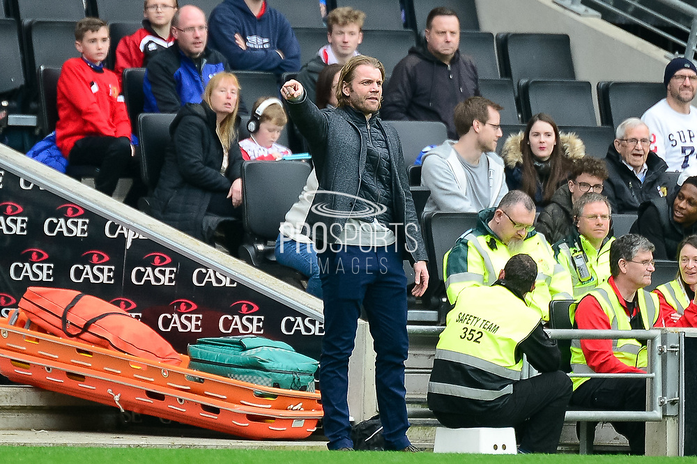 Milton Keynes Dons manager Robbie Neilson during the EFL Sky Bet League 1 match between Milton Keynes Dons and Rochdale at stadium:mk, Milton Keynes, England on 11 March 2017. Photo by Dennis Goodwin.