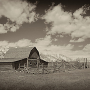 Mormon Row Barn And Stable - Grand Tetons, WY - Sepia Black & White