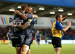 Sale Sharks players celebrate after scoring a try, which is later disallowed - Mandatory by-line: Matt McNulty/JMP - 08/09/2017 - RUGBY - AJ Bell Stadium - Sale, England - Sale Sharks v Newcastle Falcons - Aviva Premiership