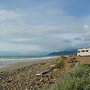 Motorhomes at state park beach near Ventura, CA. USA.