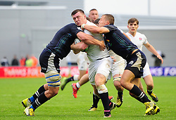 Matt Gallagher of England takes on the Scotland U20 defence - Mandatory byline: Patrick Khachfe/JMP - 07966 386802 - 11/06/2016 - RUGBY UNION - Manchester City Academy Stadium - Manchester, England - England U20 v Scotland U20 - World Rugby U20 Championship 2016.