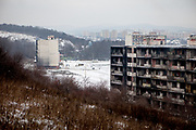 View from a hill at the Lunik IX housing estate which is home of the largest Roma community in Slovakia. The community is located a few kilometers away from the historical city centre, on the outskirts of the eastern Slovakian city of Kosice. Since the beginning of the 1980s a large number of the Roma residents living in the city and in nearby settlements have been moved to Lunik IX. Lunik IX has officially 6542 registered (12/2015) inhabitants and almost all of them are of Roma ethnicity.