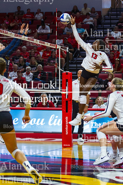 BLOOMINGTON, IL - September 15: Emmy Ogogor during a college Women's volleyball match between the ISU Redbirds and the Marquette Golden Eagles on September 15 2019 at Illinois State University in Normal, IL. (Photo by Alan Look)