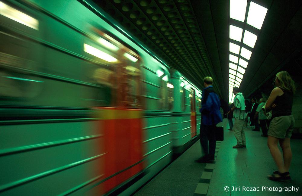 CZECH REPUBLIC PRAGUE JUL00 - A subway train arrives at Prague's Jiriho z Podebrad station.. . jre/Photo by Jiri Rezac. . © Jiri Rezac 2000. . Tel:   +44 (0) 7050 110 417. Email: info@jirirezac.com. Web:   www.jirirezac.com
