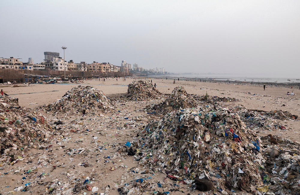 Plastic pollution Plastic trash and other garbage polluting Versova beach, Mumbai, India