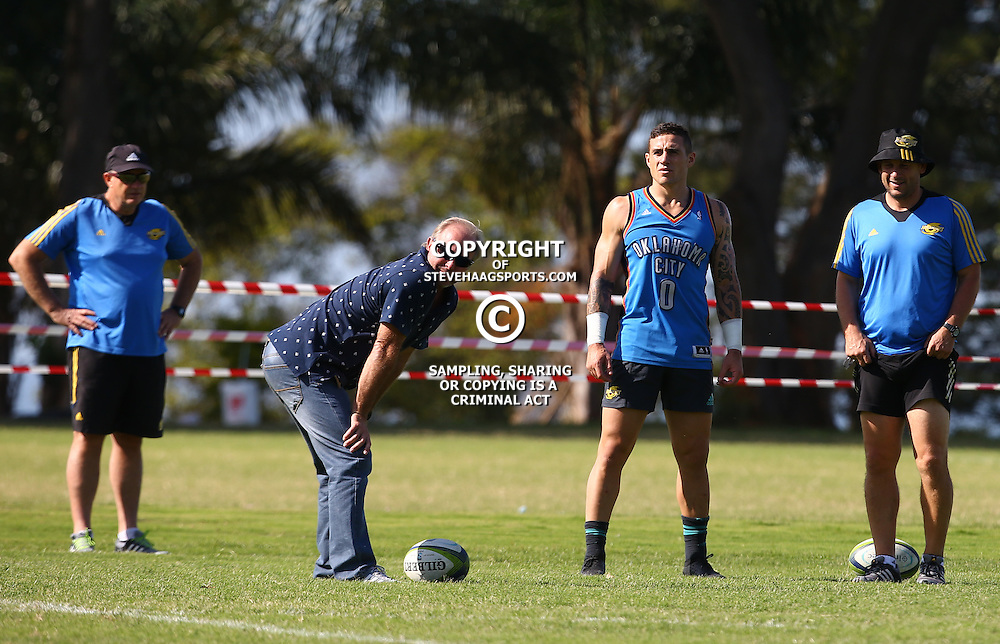 DURBAN, SOUTH AFRICA, 3, May 2016 - Grant Bashform ex Sharks Coach with TJ Perenara (vc) during the Hurricanes training session held at Northwood School Durban North , (Photographer Steve Haag) <br /> <br /> Images for social media must have consent from Steve Haag