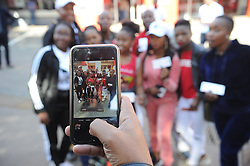 Johannesburg 08-09-18Rugby fans from the East Rand has a friend take a photo of them. in the precinct of the stadium. Rugby Currie Cup match between the Xerox Golden Lions vs Toyota Free State Cheetahs at Emirates Airline Park. Picture: Karen Sandison/African News Agency(ANA)