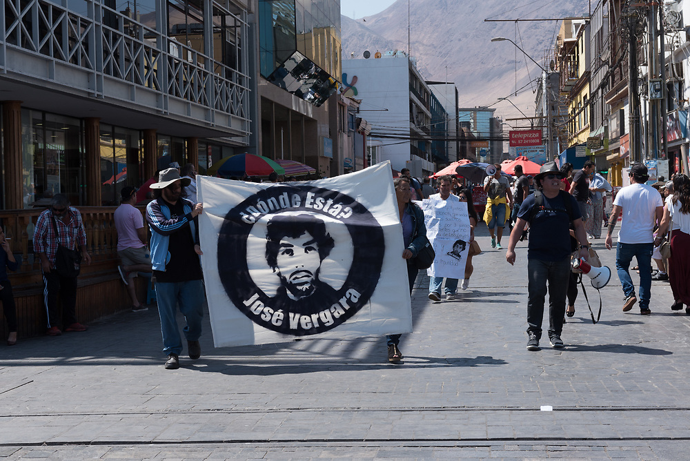 Iquique, Chile—April 9, 2018, 11:48 AM local time. Protestors object to alleged police brutality in the case of Jose Vergara. Editorial use only.