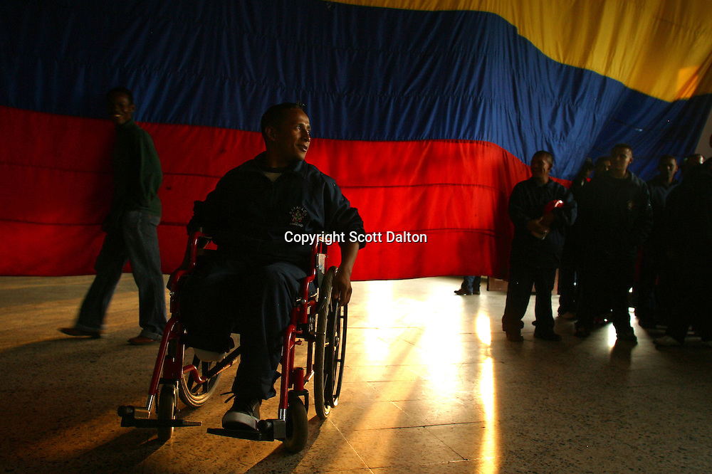 Oscar Burgos, 25, a Colombian soldier who lost his leg to a landmine, sits in his wheelchair at a military base in Bogota on Thursday, January 19, 2006. Colombia's illegal armed groups continue to plant landmines in strategic areas throughout the countryside with the victims being both Colombian soldiers as well as civilians. Colombia has one of the worst landmine problems in the world. (Photo/Scott Dalton)