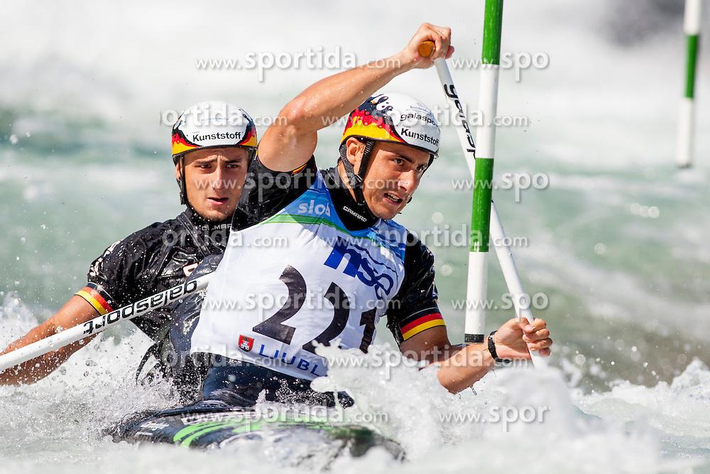 Kai Mueller and Kevin Mueller of Germany during Canoe (C2) Man semi-final race at ICF Canoe Slalom World Cup Sloka 2013, on August 18, 2013, in Tacen, Ljubljana, Slovenia. (Photo by Urban Urbanc / Sportida.com)