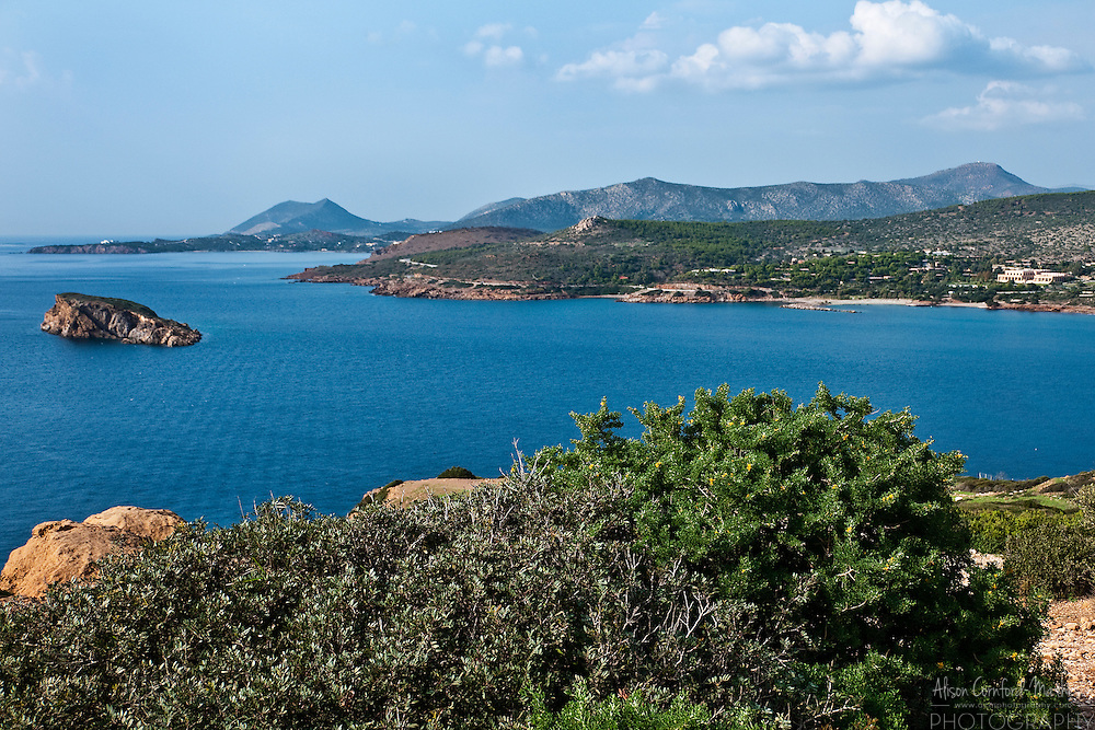 View of the Mediterranean and the Attica coast of Greece from the Temple of Poseidon at Cape Sounion.