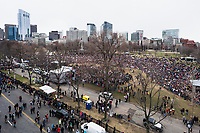 A rooftop view of protestors gathering for the March for Our Lives on Boston Common.