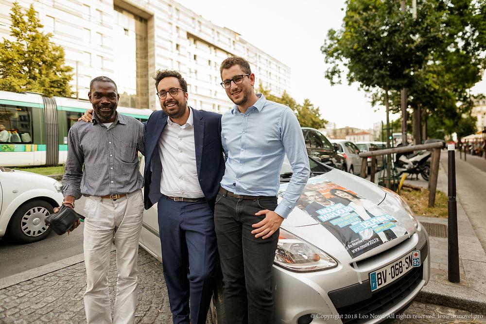 8  June  2017 &ndash; Paris, France<br /> Mounir Mahjoubi poses for a photo with campaign members.